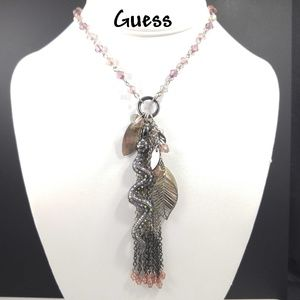 Guess Snake Tassel Pendant Crystal Necklace